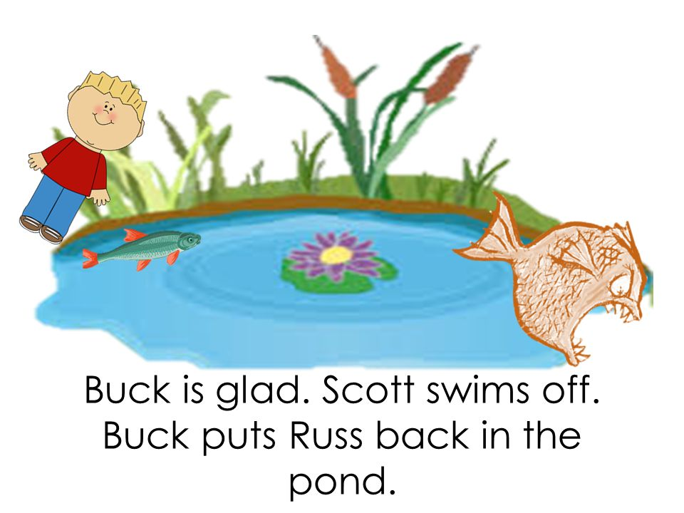 Buck is glad. Scott swims off. Buck puts Russ back in the pond.