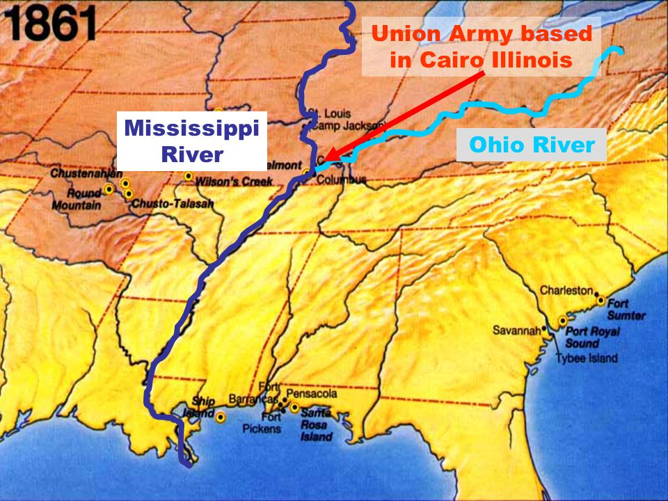 Mississippi River Ohio River Union Army based in Cairo Illinois