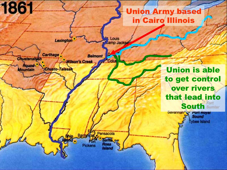 Union is able to get control over rivers that lead into South