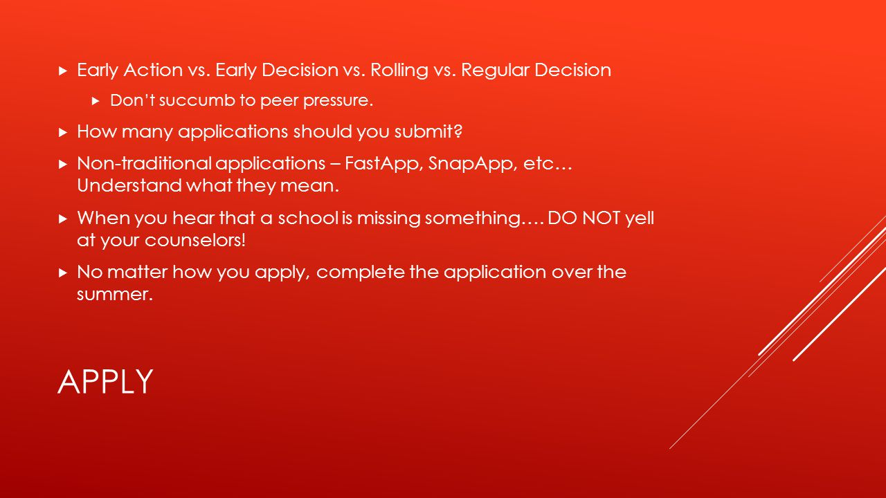 APPLY  Early Action vs. Early Decision vs. Rolling vs.