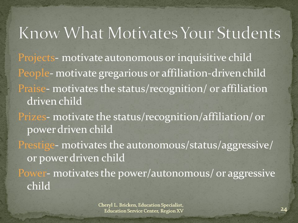 Projects- motivate autonomous or inquisitive child People- motivate gregarious or affiliation-driven child Praise- motivates the status/recognition/ or affiliation driven child Prizes- motivate the status/recognition/affiliation/ or power driven child Prestige- motivates the autonomous/status/aggressive/ or power driven child Power- motivates the power/autonomous/ or aggressive child 24 Cheryl L.