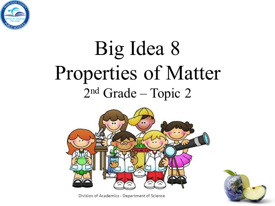 Big Idea 8 Properties of Matter 2 nd Grade – Topic 2 Division of Academics - Department of Science