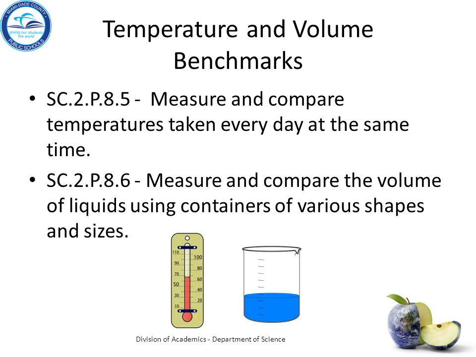 Temperature and Volume Benchmarks SC.2.P.8.5 - Measure and compare temperatures taken every day at the same time. SC.2.P.8.6 - Measure and compare the