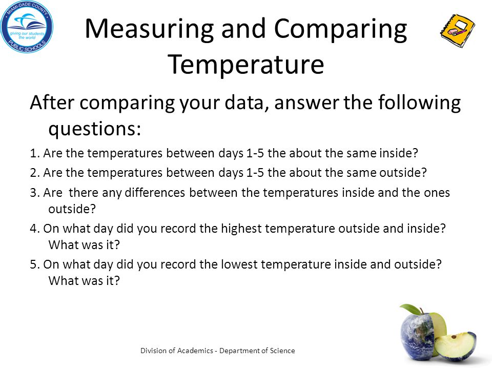 Measuring and Comparing Temperature After comparing your data, answer the following questions: 1.