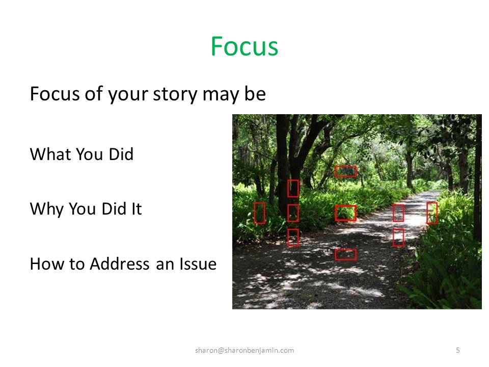 Focus Focus of your story may be What You Did Why You Did It How to Address an Issue sharon@sharonbenjamin.com5