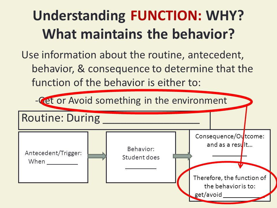 Understanding FUNCTION: WHY. What maintains the behavior.
