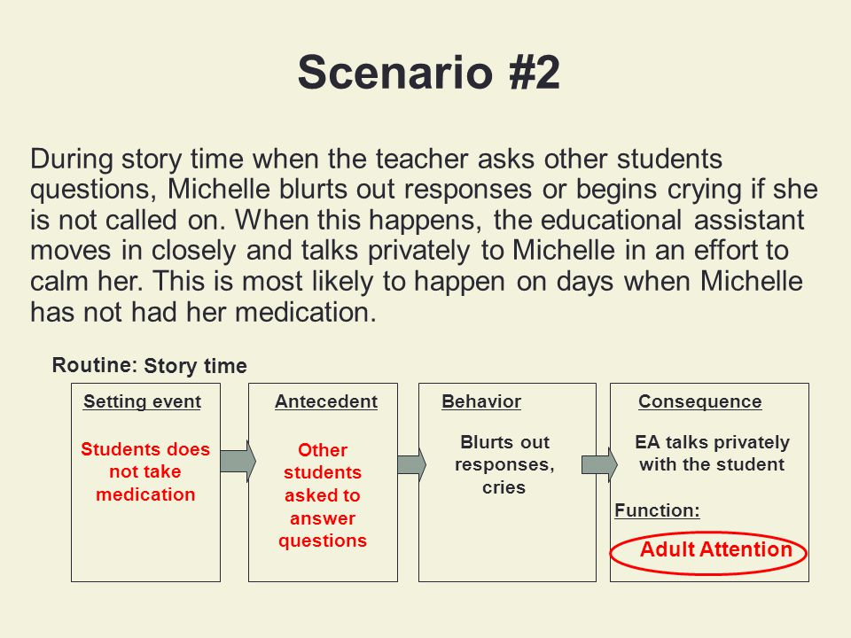EA talks privately with the student Function: Scenario #2 During story time when the teacher asks other students questions, Michelle blurts out responses or begins crying if she is not called on.