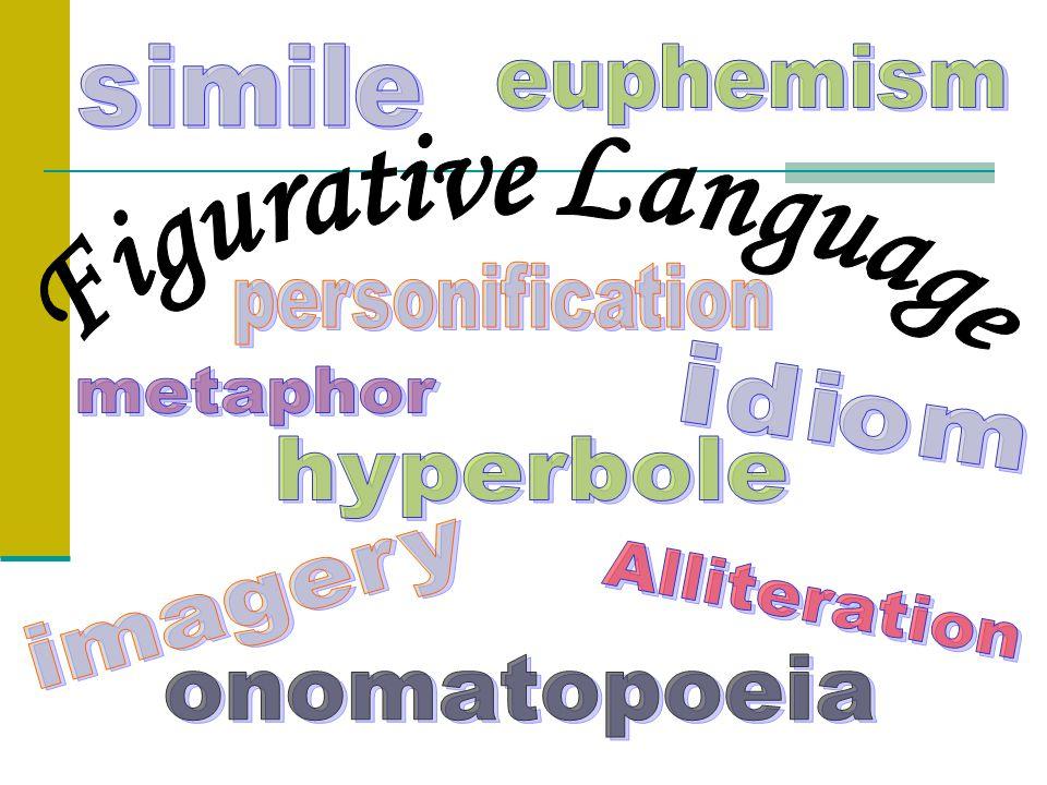 Types of Figurative Language Imagery Simile Metaphor Alliteration Personification Onomatopoeia Hyperbole Idioms Euphemism Oxymoron Pun Irony Symbolism