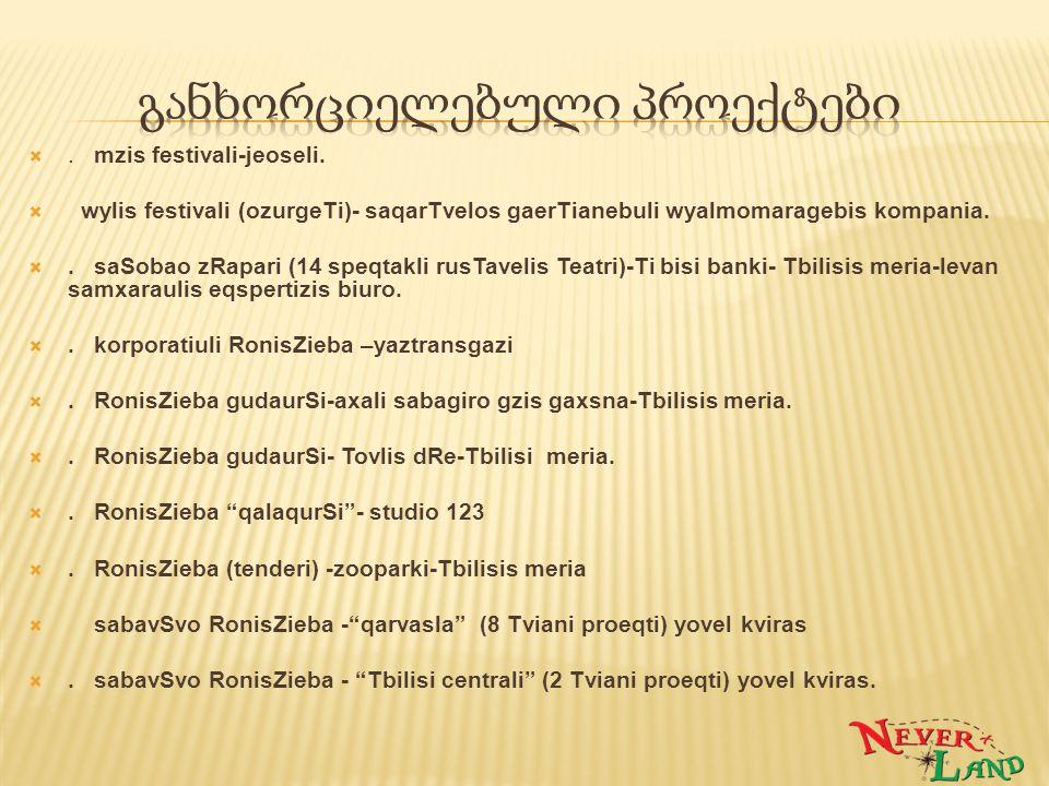 . mzis festivali-jeoseli.  wylis festivali (ozurgeTi)- saqarTvelos gaerTianebuli wyalmomaragebis kompania. . saSobao zRapari (14 speqtakli rusTavel
