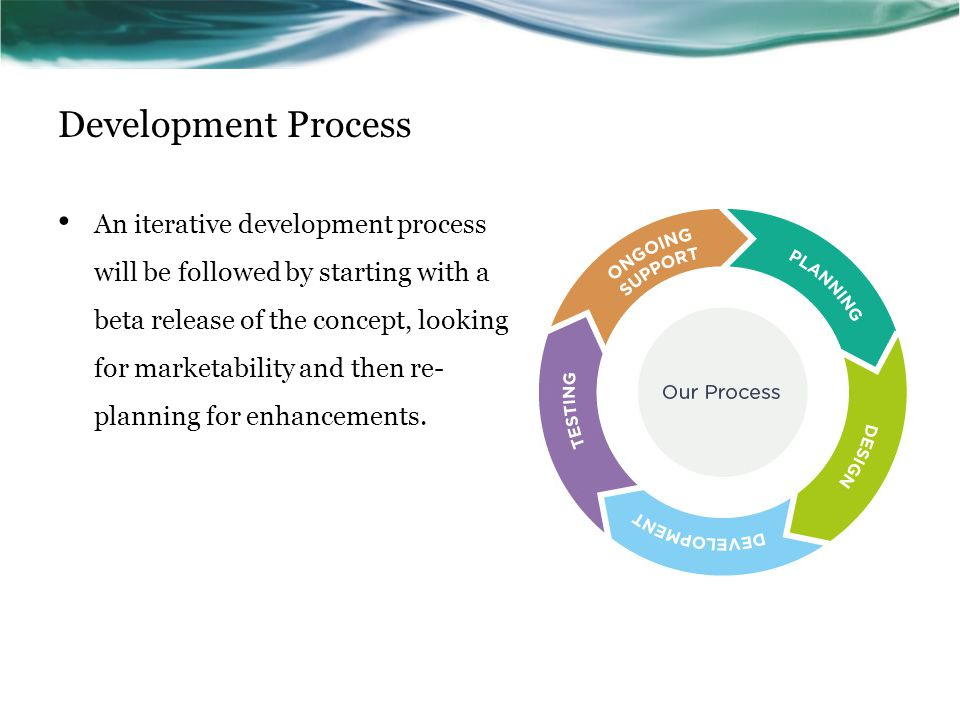 Development Process An iterative development process will be followed by starting with a beta release of the concept, looking for marketability and then re- planning for enhancements.