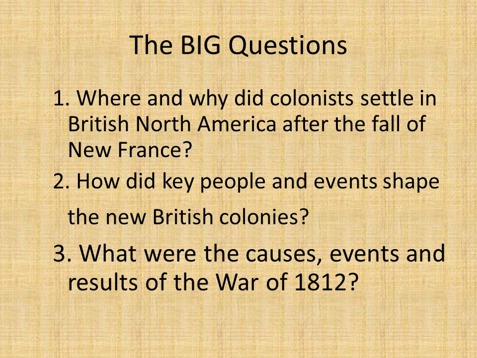 The BIG Questions 1. Where and why did colonists settle in British North America after the fall of New France? 2. How did key people and events shape