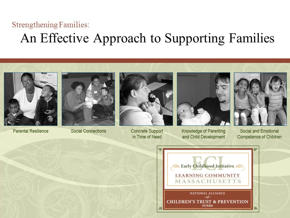 Goals Understand the key elements of the Strengthening Families Five Protective factors – a foundation for programs that support families.