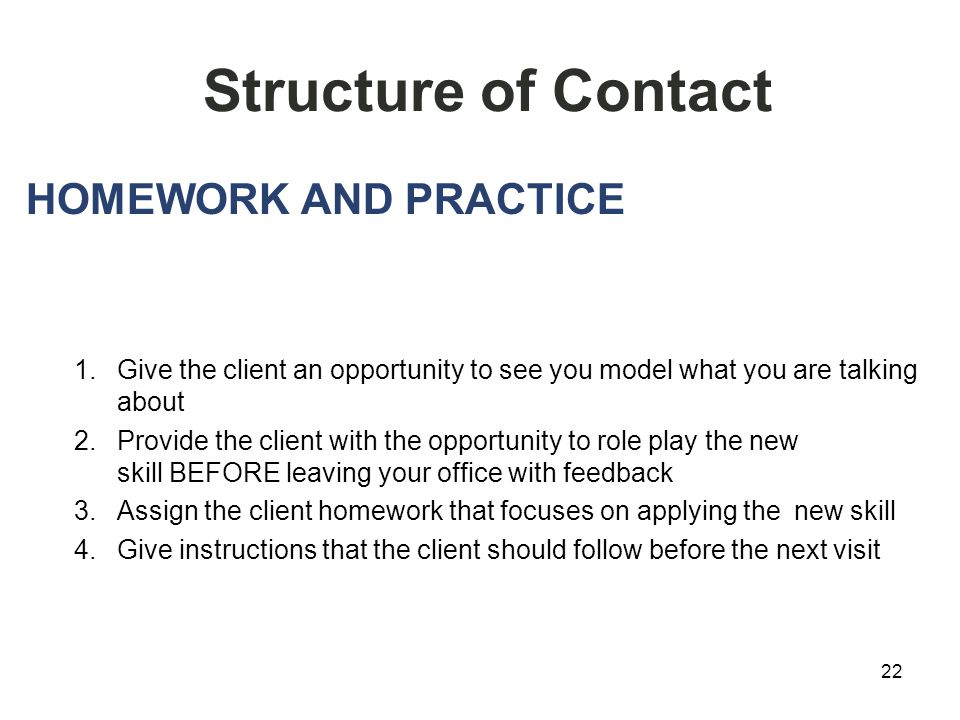 22 Structure of Contact HOMEWORK AND PRACTICE 1.