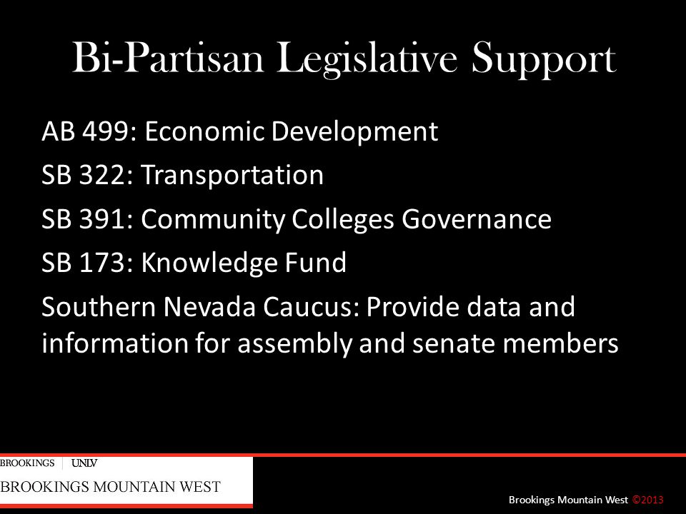 Bi-Partisan Legislative Support AB 499: Economic Development SB 322: Transportation SB 391: Community Colleges Governance SB 173: Knowledge Fund Southern Nevada Caucus: Provide data and information for assembly and senate members Brookings Mountain West ©2013