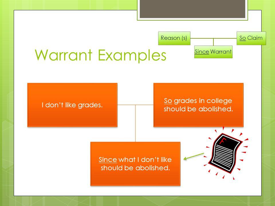 Warrant Examples Reason (s) So Claim Since Warrant I don't like grades.