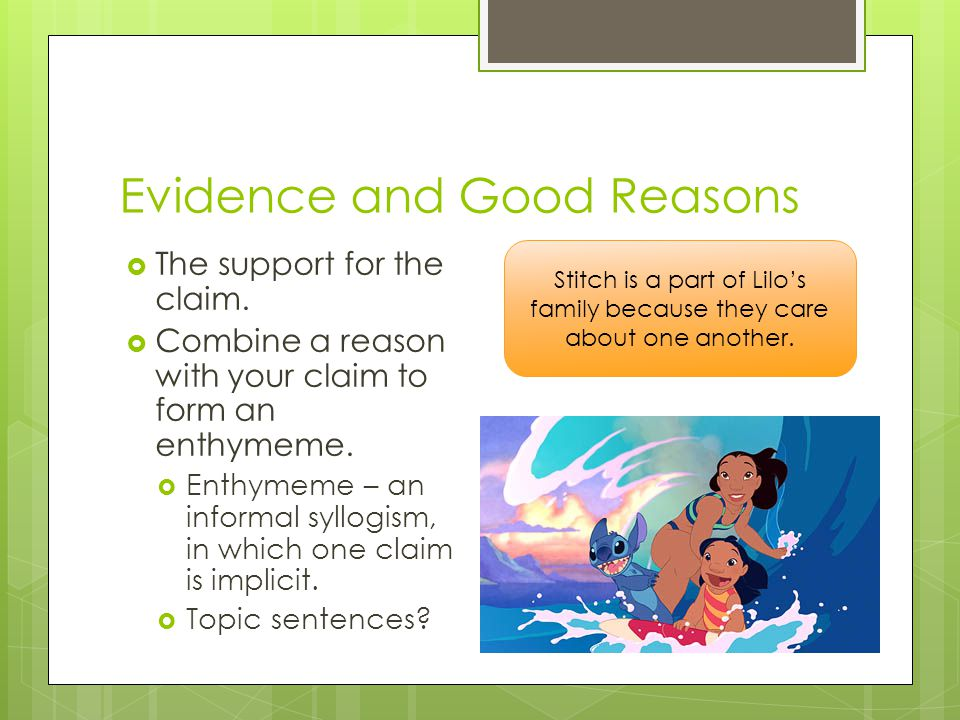 Evidence and Good Reasons  The support for the claim.