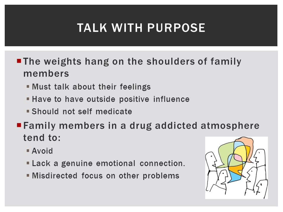  The weights hang on the shoulders of family members  Must talk about their feelings  Have to have outside positive influence  Should not self medicate  Family members in a drug addicted atmosphere tend to:  Avoid  Lack a genuine emotional connection.