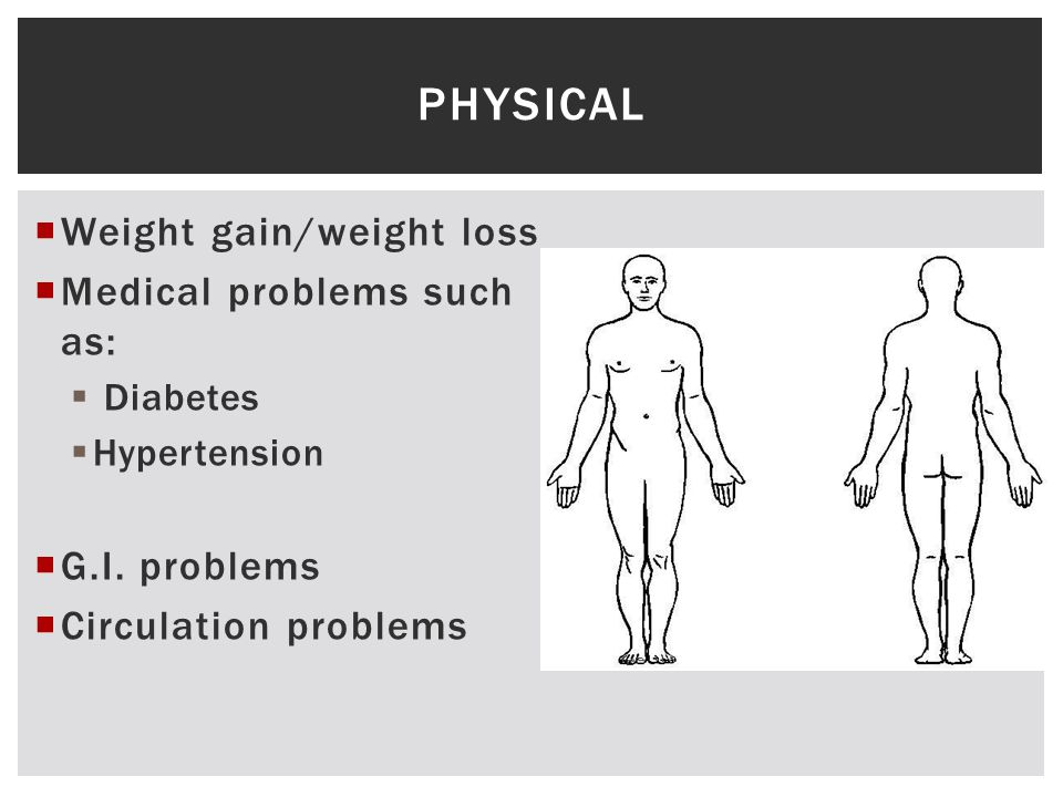  Weight gain/weight loss  Medical problems such as:  Diabetes  Hypertension  G.I.