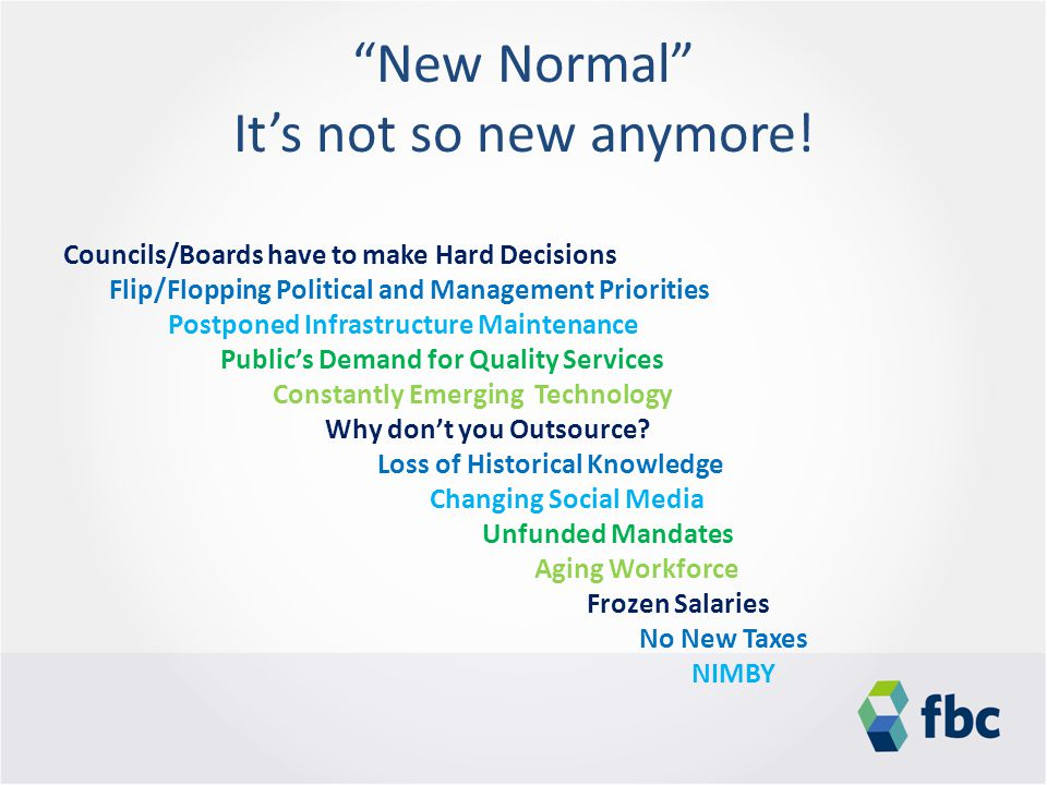 """New Normal"" It's not so new anymore! Councils/Boards have to make Hard Decisions Flip/Flopping Political and Management Priorities Postponed Infrastr"