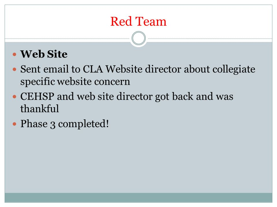 Red Team Web Site Sent email to CLA Website director about collegiate specific website concern CEHSP and web site director got back and was thankful Phase 3 completed!