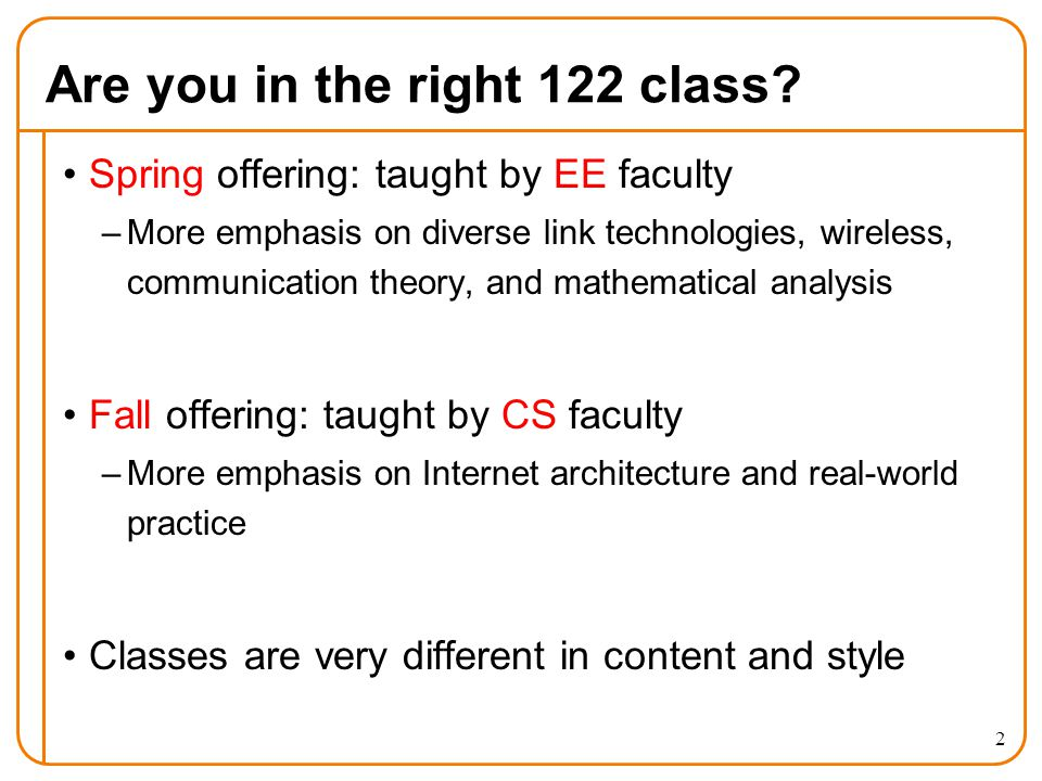 2 Are you in the right 122 class.