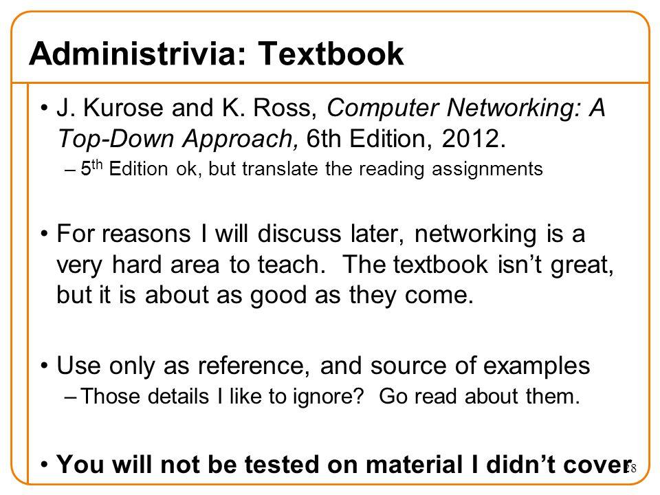 28 Administrivia: Textbook J. Kurose and K.