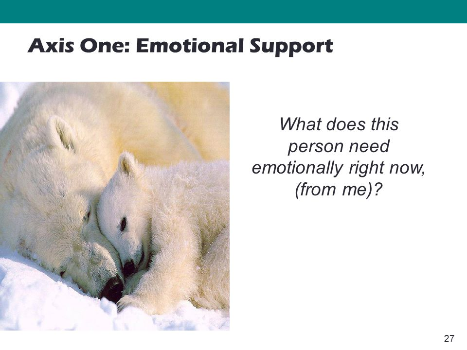 27 What does this person need emotionally right now, (from me)? Axis One: Emotional Support