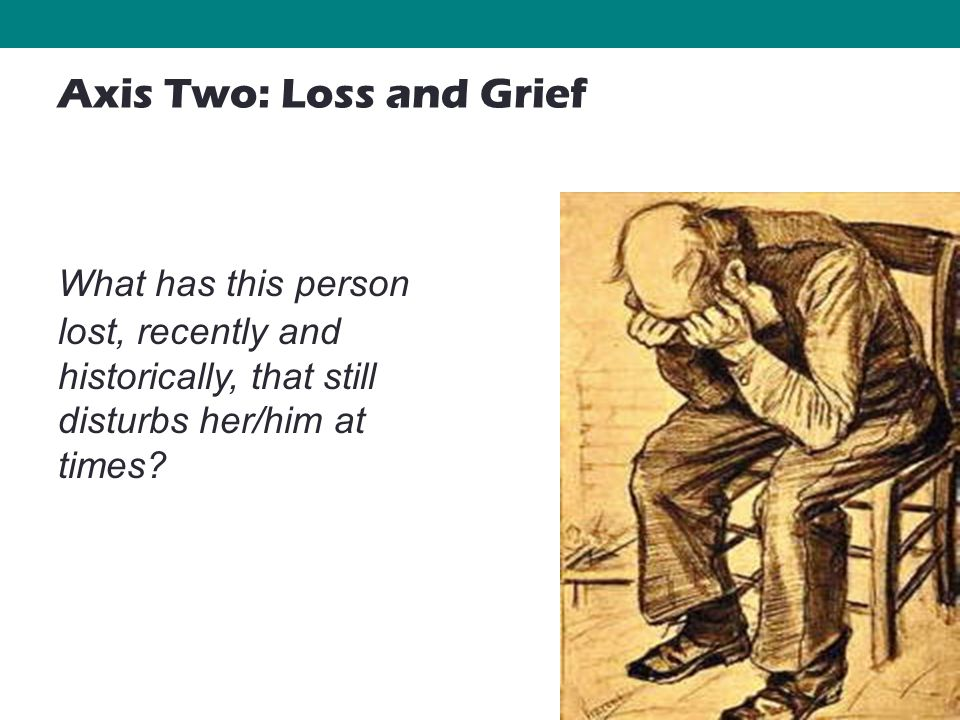 33 What has this person lost, recently and historically, that still disturbs her/him at times? Axis Two: Loss and Grief