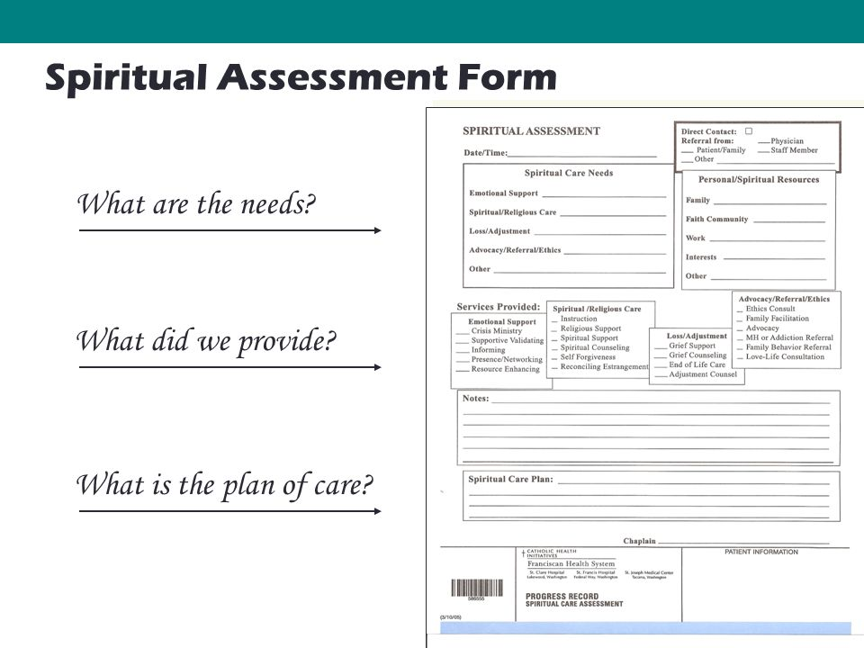 50 What are the needs What did we provide What is the plan of care Spiritual Assessment Form