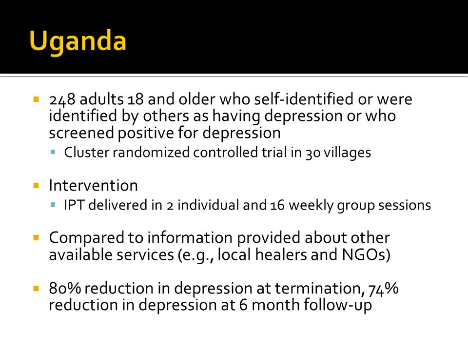 248 adults 18 and older who self-identified or were identified by others as having depression or who screened positive for depression  Cluster rand