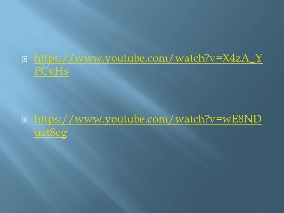  https://www.youtube.com/watch?v=X4zA_Y PCyHs https://www.youtube.com/watch?v=X4zA_Y PCyHs  https://www.youtube.com/watch?v=wE8ND uzt8eg https://www.youtube.com/watch?v=wE8ND uzt8eg