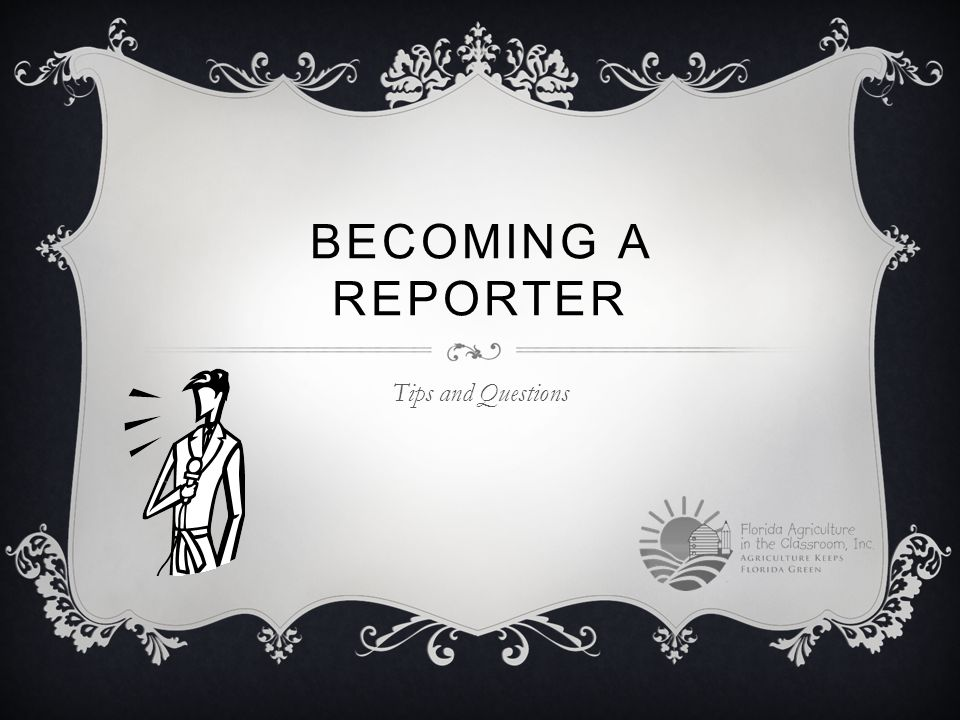 BECOMING A REPORTER Tips and Questions