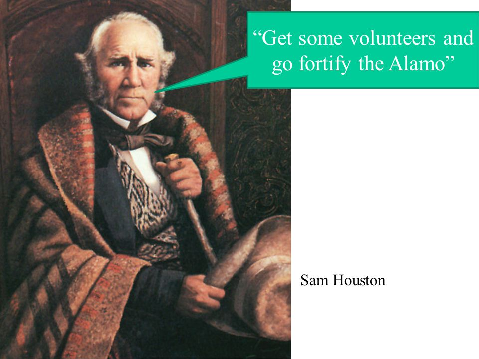 Get some volunteers and go fortify the Alamo Sam Houston