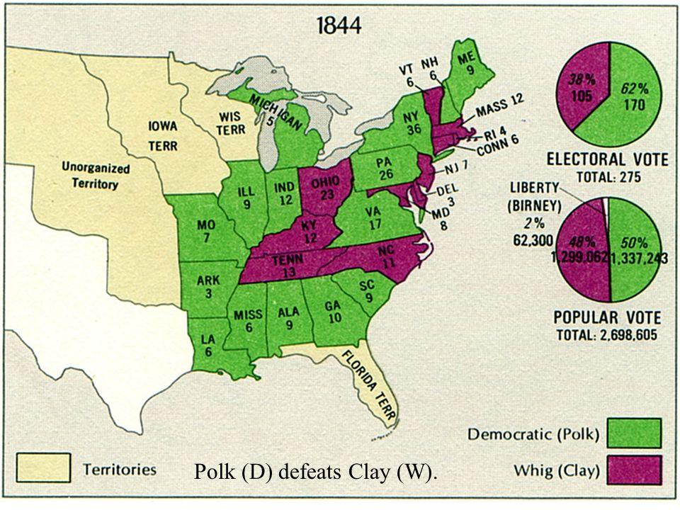 Polk (D) defeats Clay (W).