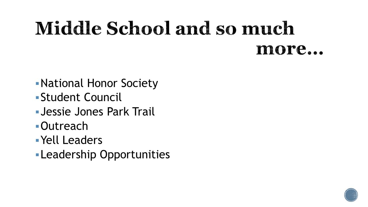 National Honor Society  Student Council  Jessie Jones Park Trail  Outreach  Yell Leaders  Leadership Opportunities