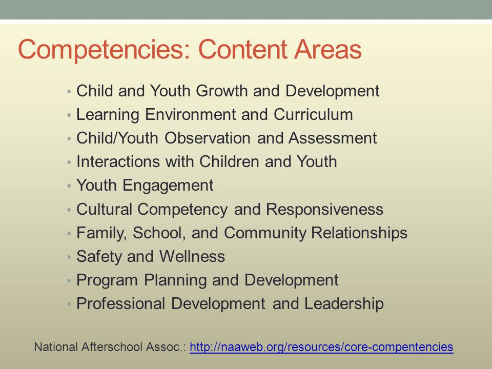 Competencies: Content Areas Child and Youth Growth and Development Learning Environment and Curriculum Child/Youth Observation and Assessment Interact