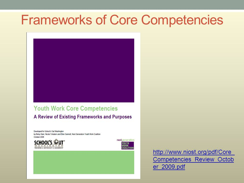 Frameworks of Core Competencies http://www.niost.org/pdf/Core_ Competencies_Review_Octob er_2009.pdf