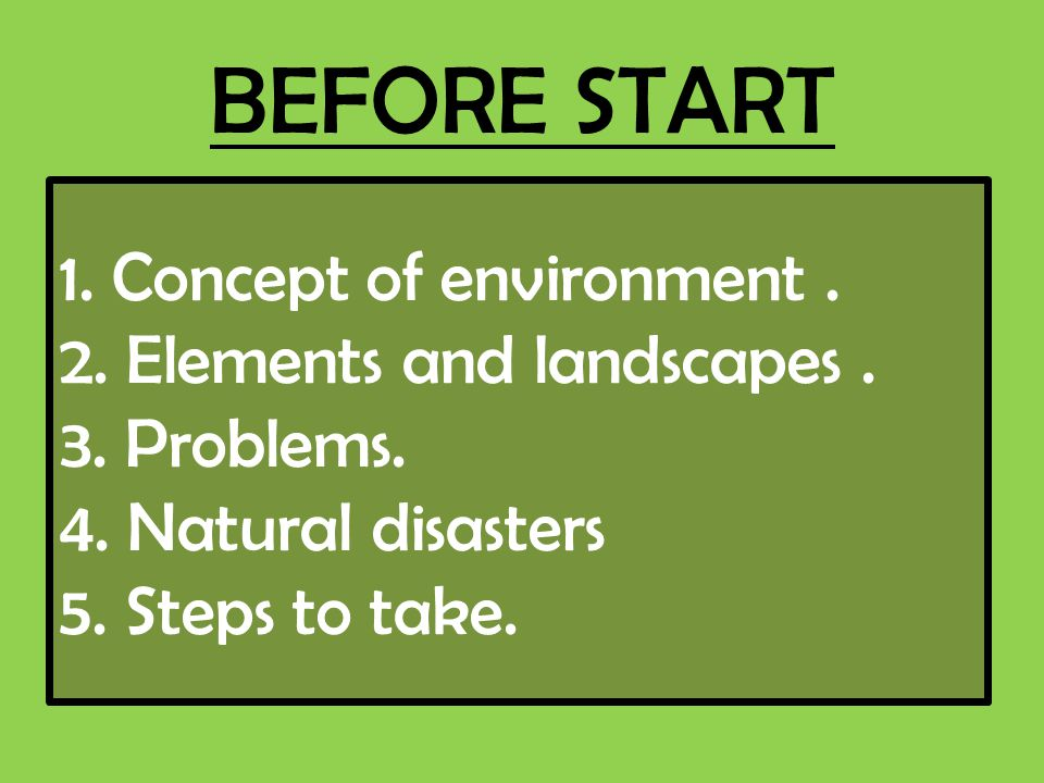 BEFORE START 1. Concept of environment. 2. Elements and landscapes. 3. Problems. 4. Natural disasters 5. Steps to take.