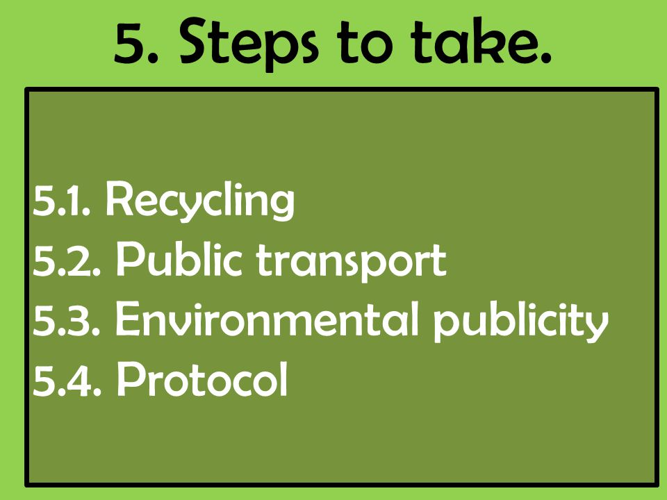 5. Steps to take. 5.1. Recycling 5.2. Public transport 5.3. Environmental publicity 5.4. Protocol