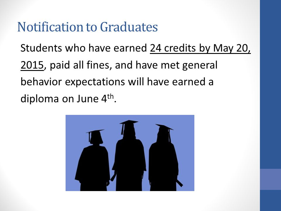 Notification to Graduates Students who have earned 24 credits by May 20, 2015, paid all fines, and have met general behavior expectations will have earned a diploma on June 4 th.