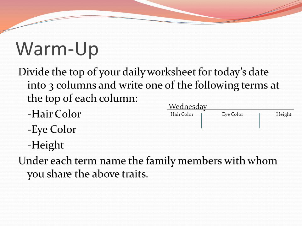Warm-Up Divide the top of your daily worksheet for today's date into 3 columns and write one of the following terms at the top of each column: -Hair C
