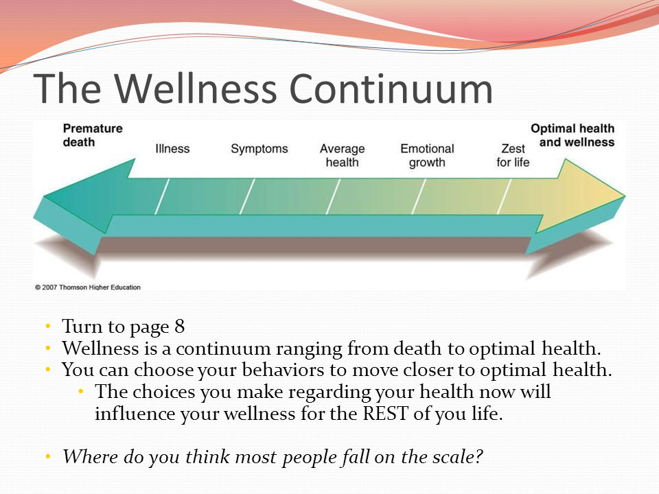 The Wellness Continuum Turn to page 8 Wellness is a continuum ranging from death to optimal health. You can choose your behaviors to move closer to op