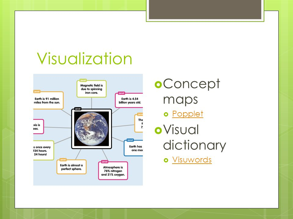 Visualization  Concept maps  Popplet Popplet  Visual dictionary  Visuwords Visuwords