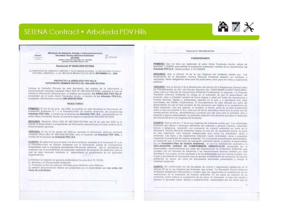 SETENA Contract Arboleda PDV Hills