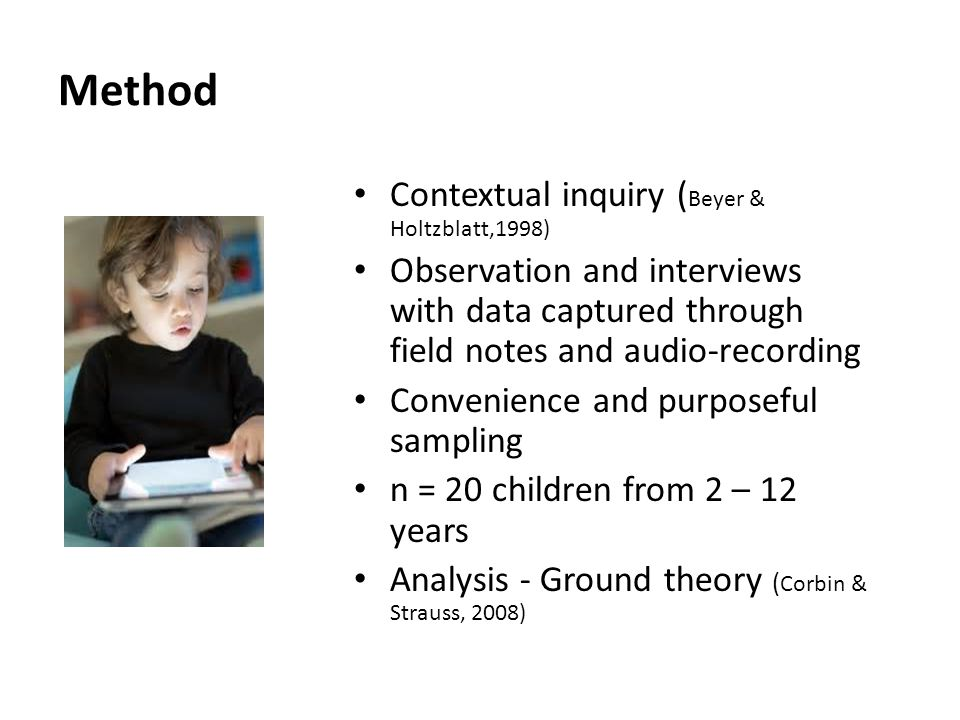 Method Contextual inquiry ( Beyer & Holtzblatt,1998) Observation and interviews with data captured through field notes and audio-recording Convenience and purposeful sampling n = 20 children from 2 – 12 years Analysis - Ground theory ( Corbin & Strauss, 2008)