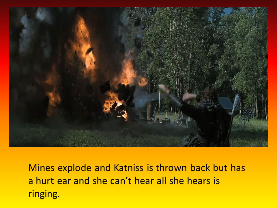 Katniss is unable to hear so she chooses to stay hidden from others because she wont know is they r coming after her.