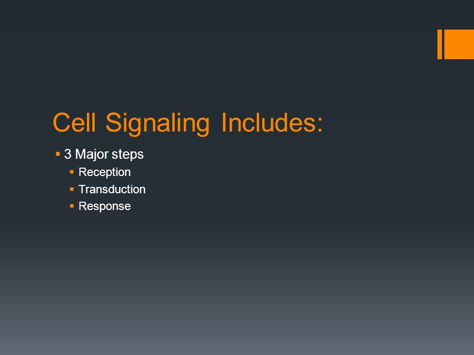 Cell Signaling Includes:  3 Major steps  Reception  Transduction  Response