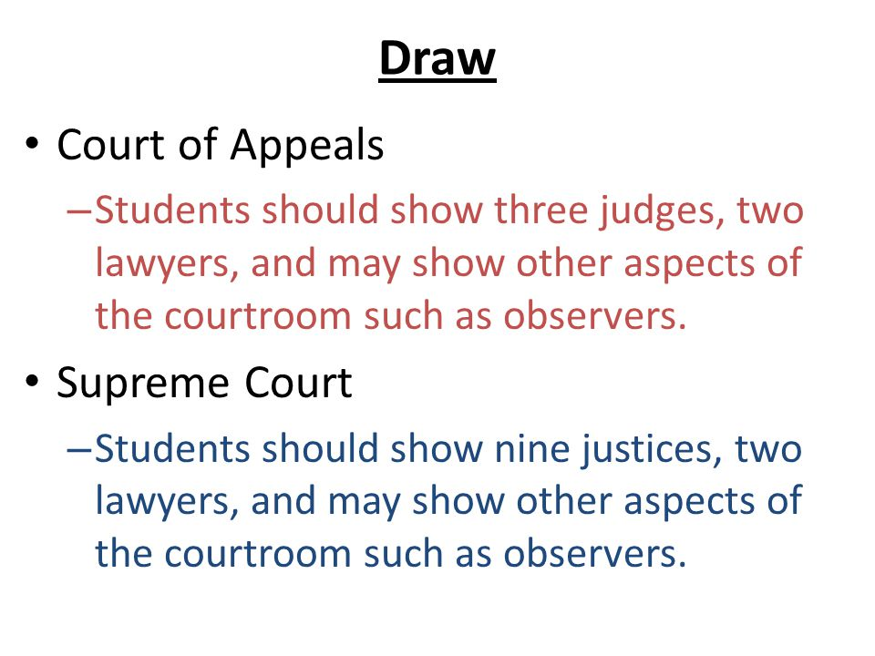 Draw Court of Appeals – Students should show three judges, two lawyers, and may show other aspects of the courtroom such as observers. Supreme Court –