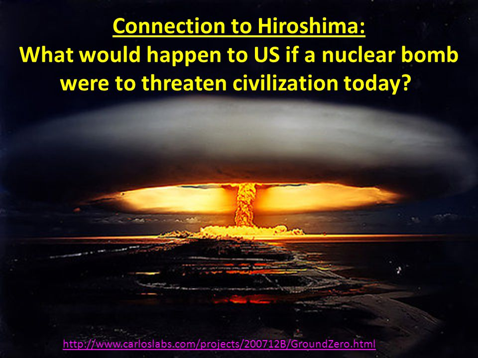 Connection to Hiroshima: What would happen to US if a nuclear bomb were to threaten civilization today.