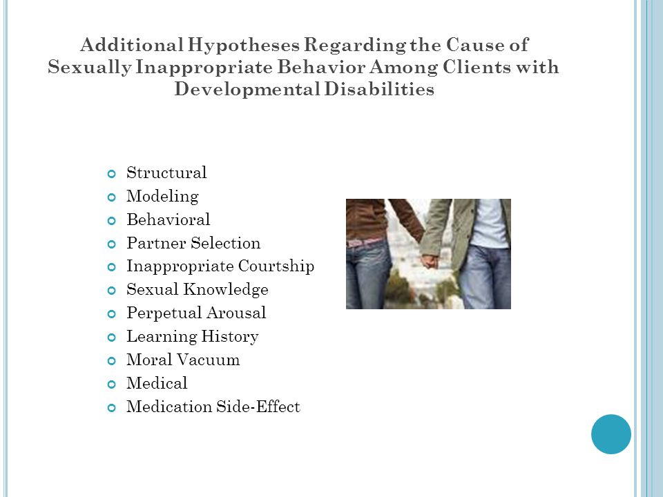 Additional Hypotheses Regarding the Cause of Sexually Inappropriate Behavior Among Clients with Developmental Disabilities Structural Modeling Behavio